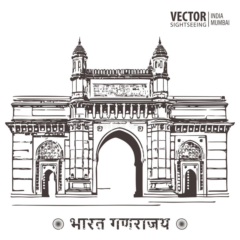Mumbai, porte d'Inde et Taj Mahal Hotel Mumbai, la vue de la Mer d'Oman illustration de vecteur