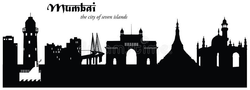 Mumbai Skyline Cityscape Silhouette stock illustration