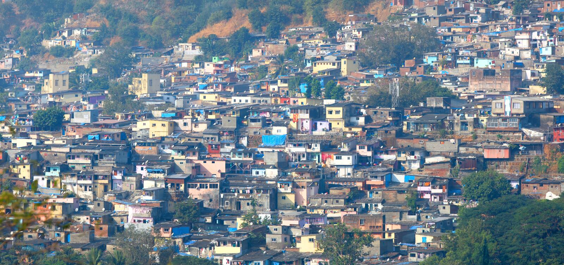 Mumbai slums. Lot of poor houses in Mumbai slums stock photo