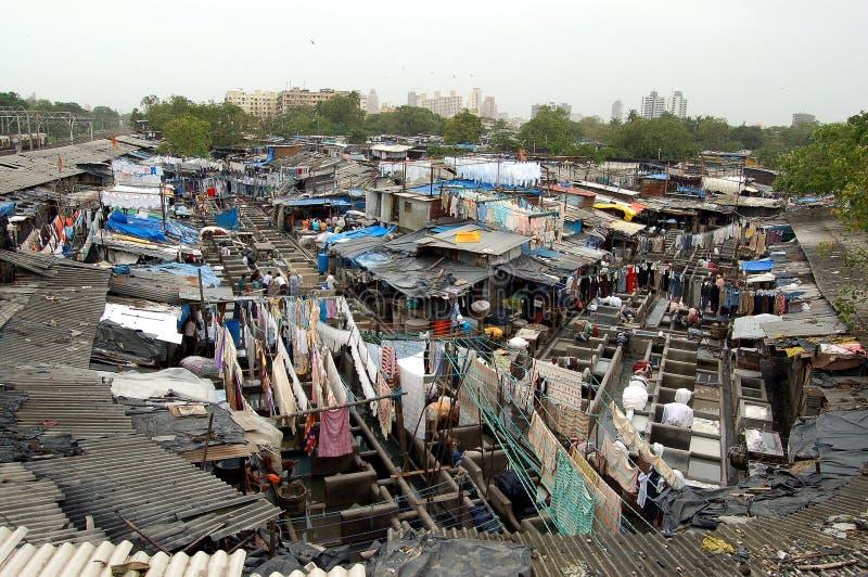 Mumbai street laundry stock images