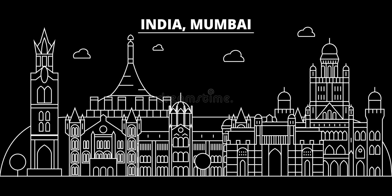 Mumbai sylwetki linia horyzontu India, Mumbai wektorowy miasto -, indyjska liniowa architektura, budynki Mumbai podróży ilustracj royalty ilustracja
