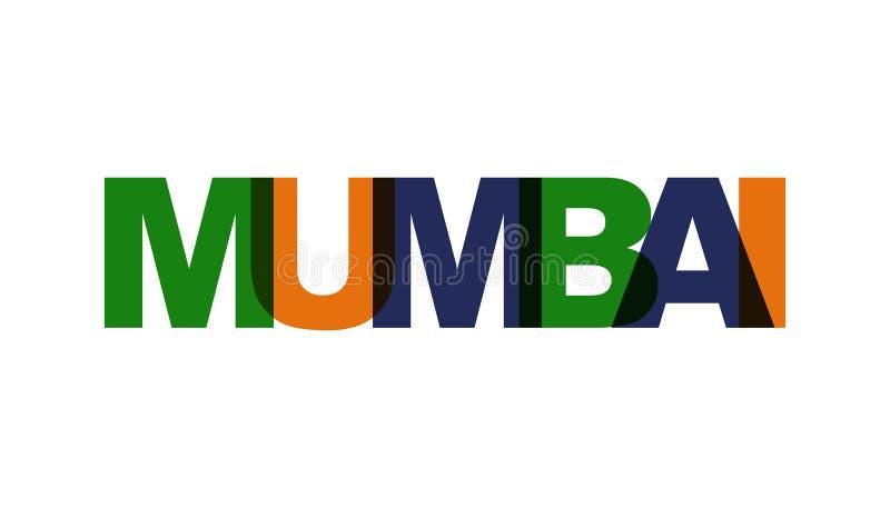 Mumbai, zwrota nasunięcia kolor żadny przezroczystość Pojęcie prosty tekst dla typografia plakata, majcheru projekt, odzież druk, ilustracja wektor