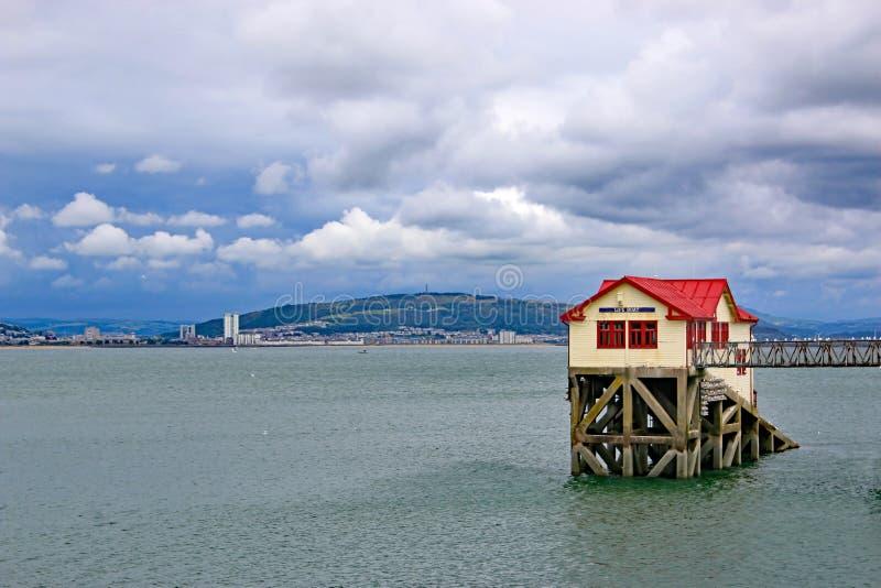 Mumbles-Pier, Swansea-Bucht stockbild