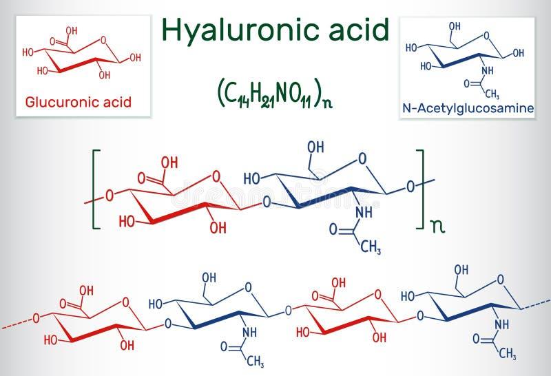 MUMMEL för Hyaluronic syra, hyaluronate, hyaluronan macromolecule Hy stock illustrationer
