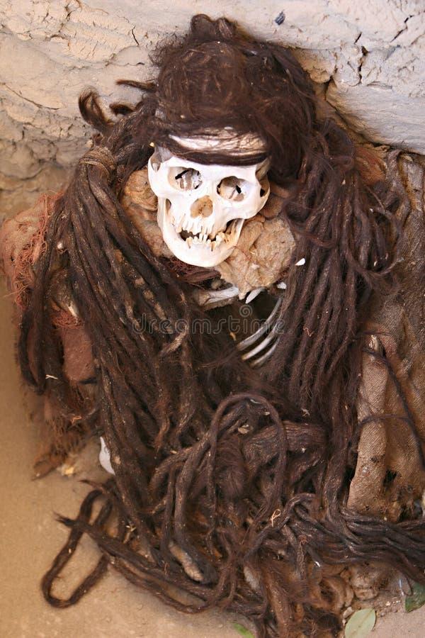 Mummia antica con capelli intrecciati lunghi immagine stock