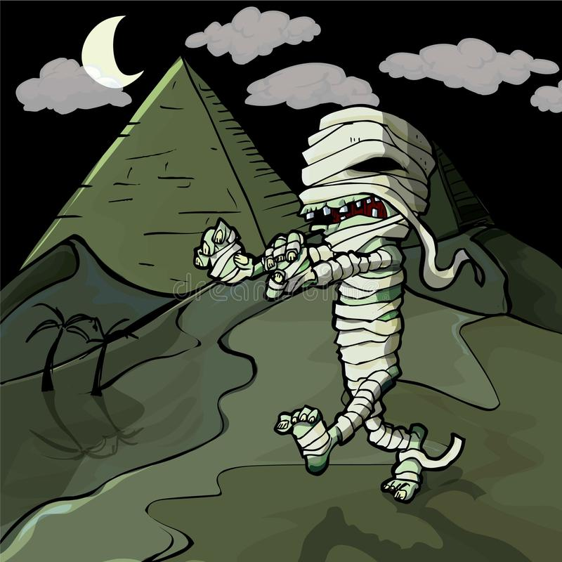 Mummia egiziana del fumetto spaventoso davanti alle piramidi royalty illustrazione gratis