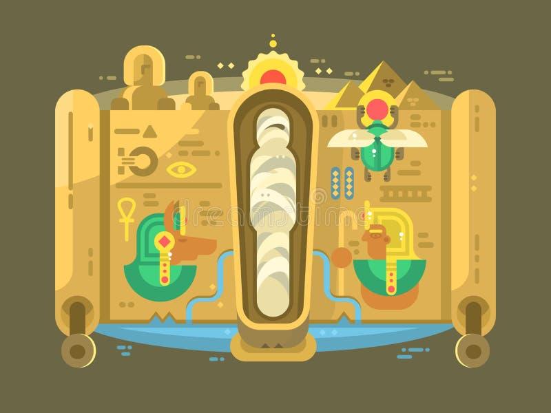 Mummia in una progettazione piana del sarcofago illustrazione di stock