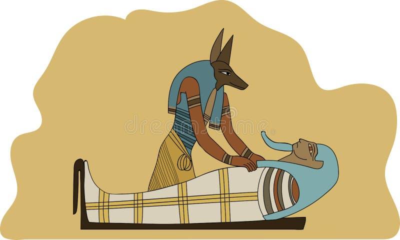 Mummificazione d'imbalsamazione antica di egitto Anubis un'illustrazione di faraone illustrazione vettoriale