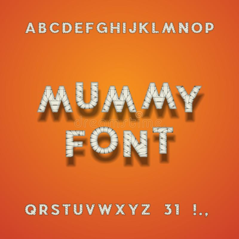 Free Mummy Bandage Font. Halloween Sans Serif Typeface. Letters, Punctuation Marks, Numbers 3 And 1. Latin Alphabet. Vector. Royalty Free Stock Photos - 100789368
