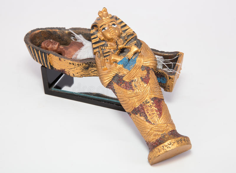 Mummy in casket. On white background stock images