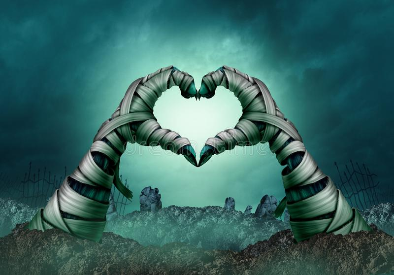 Mummy Hand Heart Shape. In a creepy night graveyard background as zombie halloween arms emerging from a cemetary grave or scary symbol in a 3D illustration vector illustration