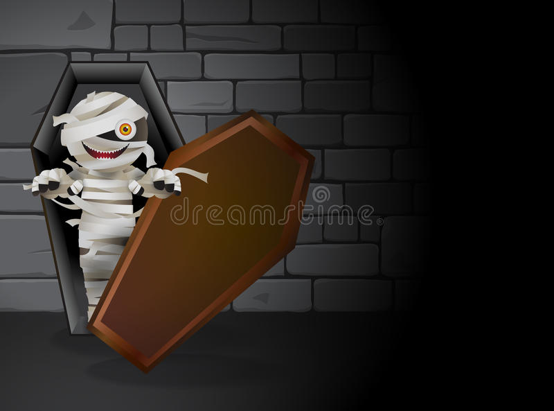 Mummy tomb. Mummy zombie is haunting in the dark tomb. He is in a coffin and stones wall as background. Vector illustration vector illustration
