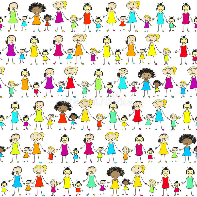 Download Mums And Daughters Of Different Nationalities. Stock Vector - Image: 21239886