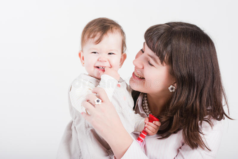 Mums felizes do retrato com uma filha foto de stock royalty free