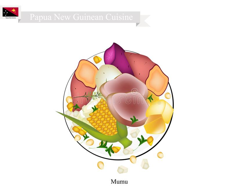 Mumu, A Traditional Papua New Guinean Maori Food. Papua New Guinean Cuisine, Illustration of Mumu or Traditional Maori Food Using Heated Rocks Buried in A Pit royalty free illustration
