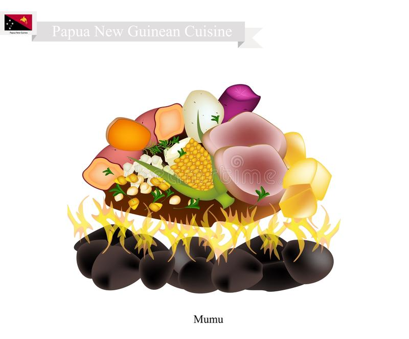 Mumu, A Traditional Papua New Guinean Maori Food. Papua New Guinean Cuisine, Illustration of Mumu or Traditional Maori Food Using Heated Rocks Buried in A Pit vector illustration