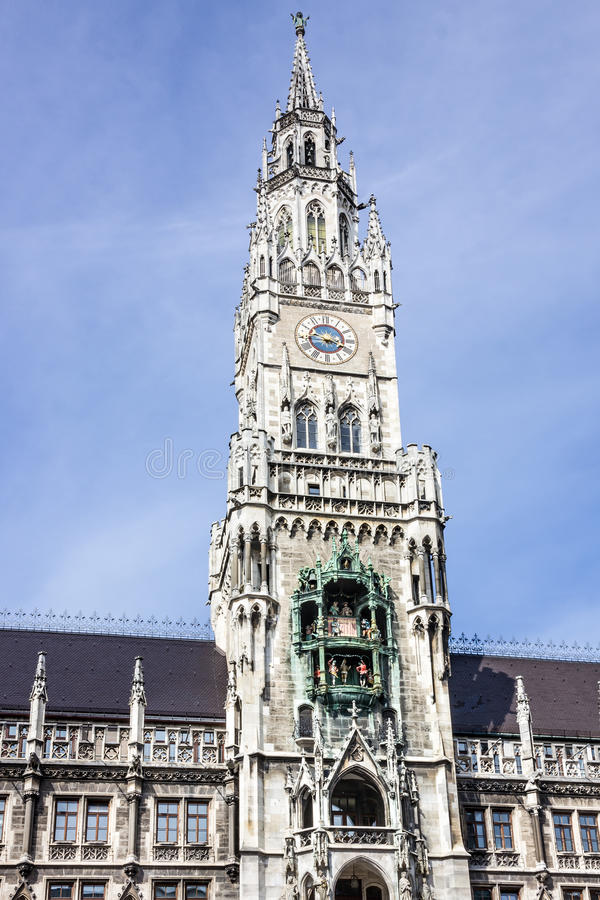 Munchen ny stadshusbyggnad, Munich Tyskland, Marienplatz, cl royaltyfria bilder