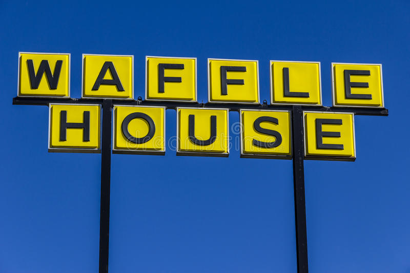 Muncie - Circa March 2017: Signage and Logo of Iconic Southern Restaurant Chain Waffle House. Waffle House was founded in 1955 I. Signage and Logo of Iconic royalty free stock images