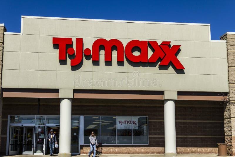 Muncie - Circa March 2017: T.J. Maxx Retail Store Location. T.J Maxx is a discount retail chain VI. T.J. Maxx Retail Store Location. T.J Maxx is a discount stock images