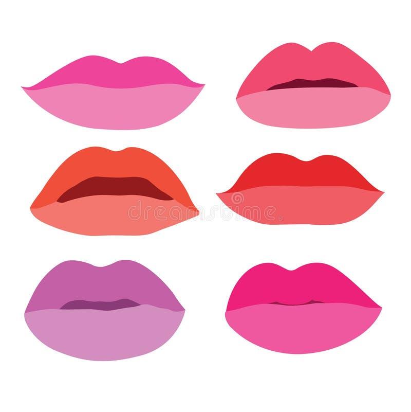 Mund-Lippen schließen herauf Gestaltungselement lokalisierte stilvolle bunte verschiedene Schatten der Sammlung von Lippenstift S vektor abbildung