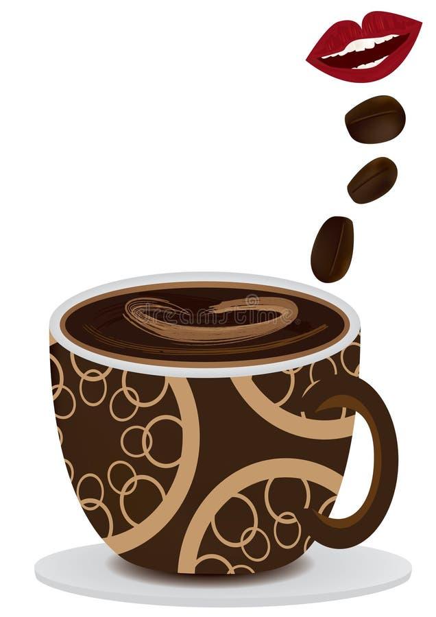 Mund mögen Kaffee stock abbildung