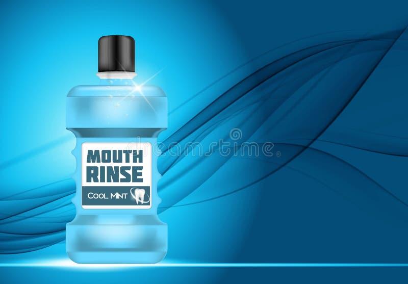 Mund Rinse Design Cosmetics Product Template für Anzeigen oder Magazi lizenzfreie abbildung