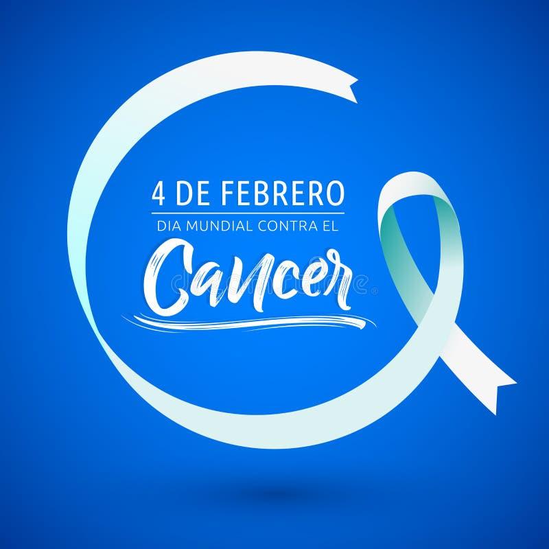 Mundial ενάντιος καρκίνος 4 de Febrero, παγκόσμια ημέρα EL Dia ενάντια στο ισπανικό κείμενο στις 4 Φεβρουαρίου καρκίνου, κυκλική  απεικόνιση αποθεμάτων
