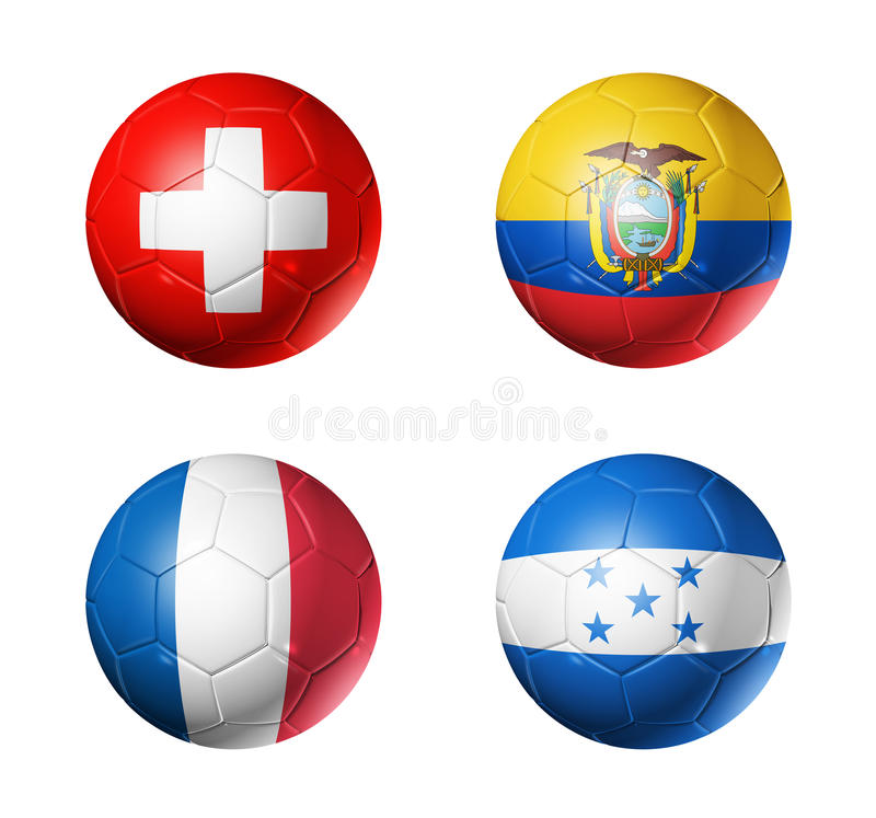 Mundial del Brasil banderas de 2014 grupos E en balón de fútbol stock de ilustración