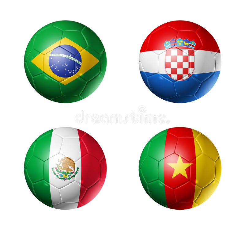 Mundial del Brasil banderas de 2014 grupos A en balón de fútbol ilustración del vector