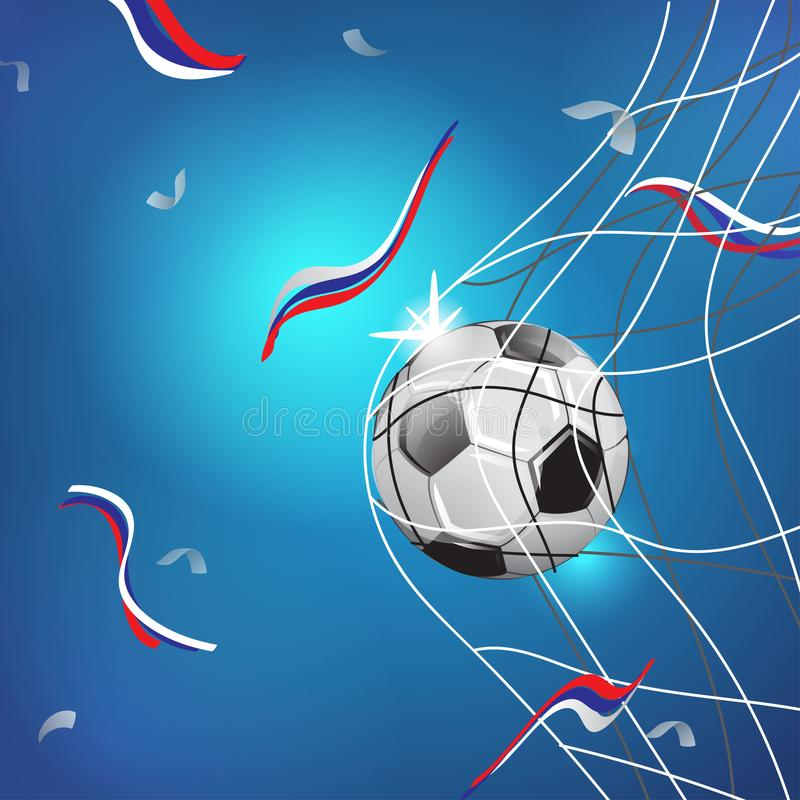 MUNDIAL RUSIA 2018 Partido del juego de fútbol Momento de la meta Bola en la red EJEMPLO DE LA PLANTILLA EN FONDO AZUL libre illustration