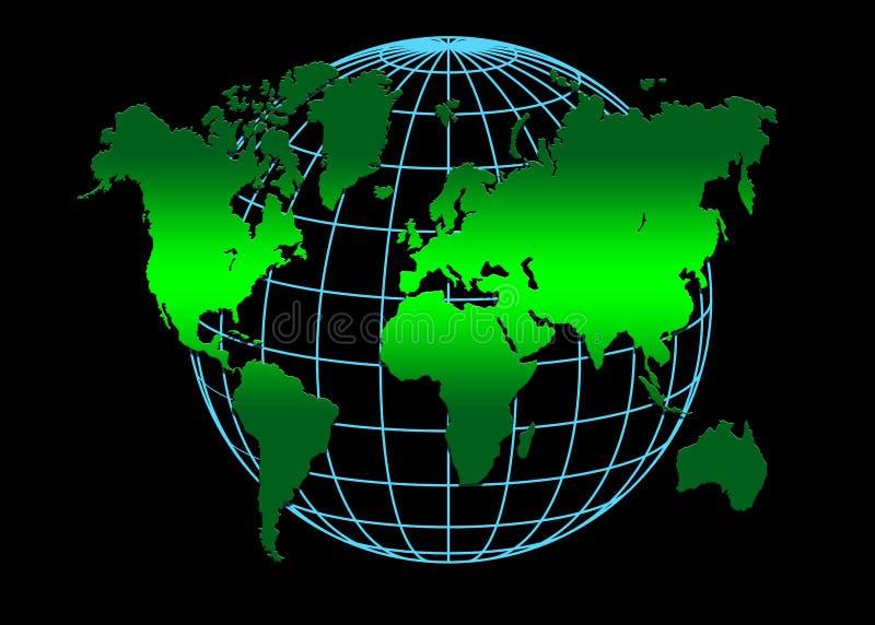 Mundo azulverde stock de ilustración
