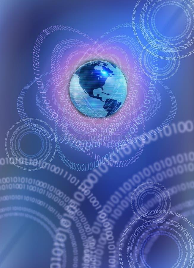 Mundo binário - conceito da tecnologia ilustração stock