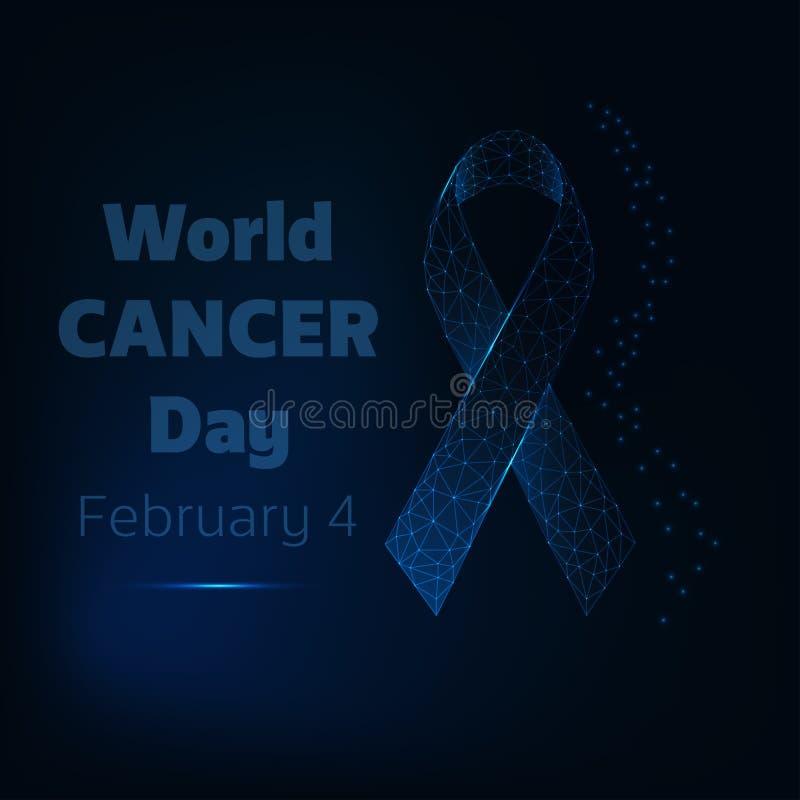 Mundo cáncer día cartel del 4 de febrero con la cinta polivinílica baja del resplandor y texto en fondo azul marino stock de ilustración