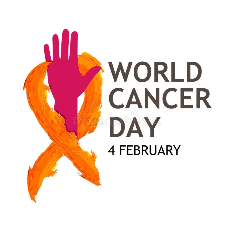 Mundo cáncer día texto del 4 de febrero con el árbol de cinta Concepto del ejemplo del vector para el día del cáncer del mundo ilustración del vector