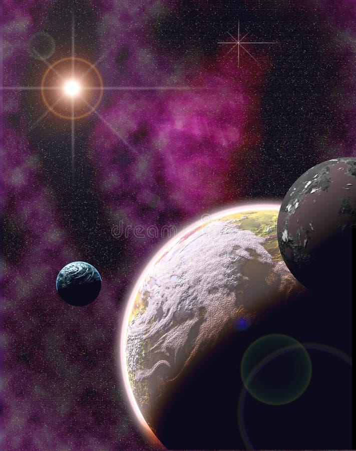 mundo com 2 luas ilustração stock