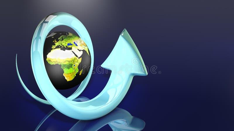 Mundo com as setas na ilustração 3D imagens de stock