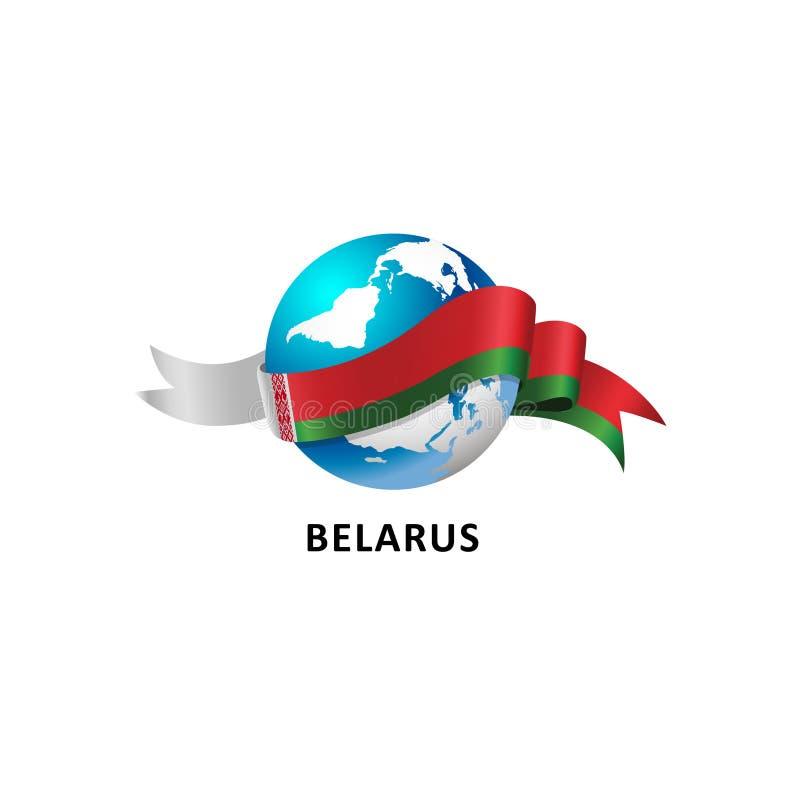 Mundo com bandeira de belarus ilustração do vetor