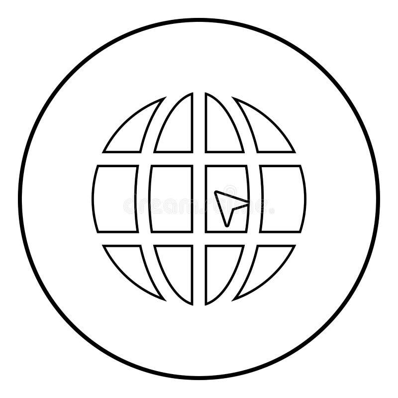 Mundo com ilustração de cor do preto do ícone do Web site do conceito do clique do mundo da seta no círculo redondo ilustração royalty free