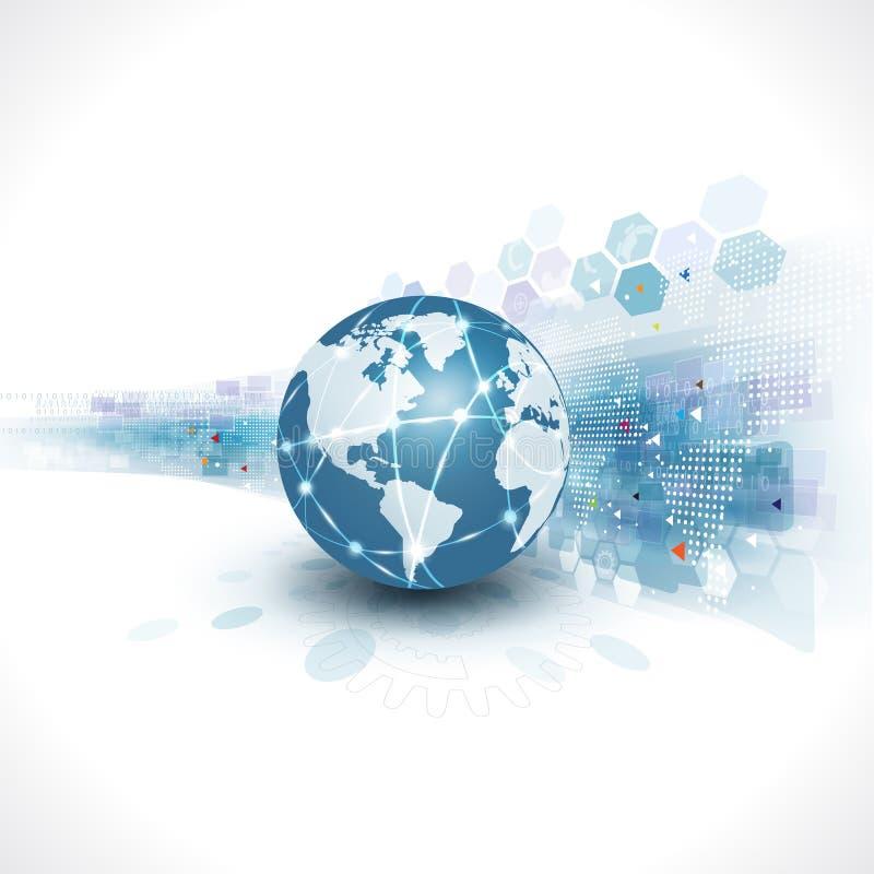 Mundo com molde gráfico futurista abstrato para o conceito incorporado da tecnologia e do negócio, vetor ilustração stock