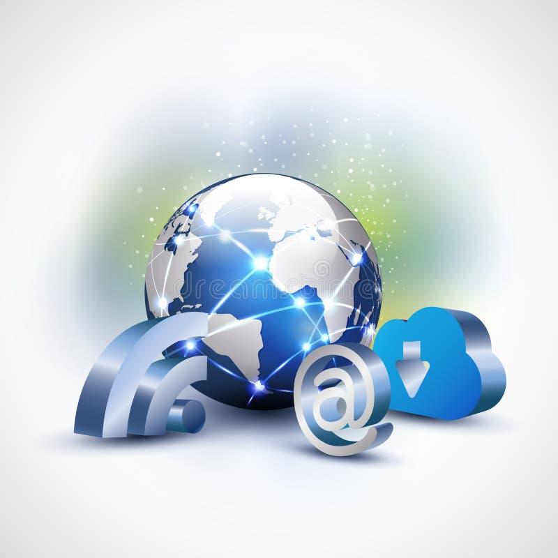 Mundo com símbolo do wifi do Internet da nuvem 3d para o conceito do negócio de uma comunicação & da tecnologia, o vetor & a ilus ilustração do vetor