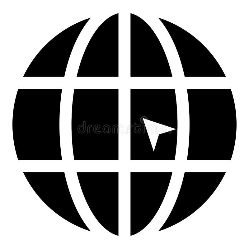 Mundo con el ejemplo de color del negro del icono de la página web del concepto del tecleo del mundo de la flecha stock de ilustración
