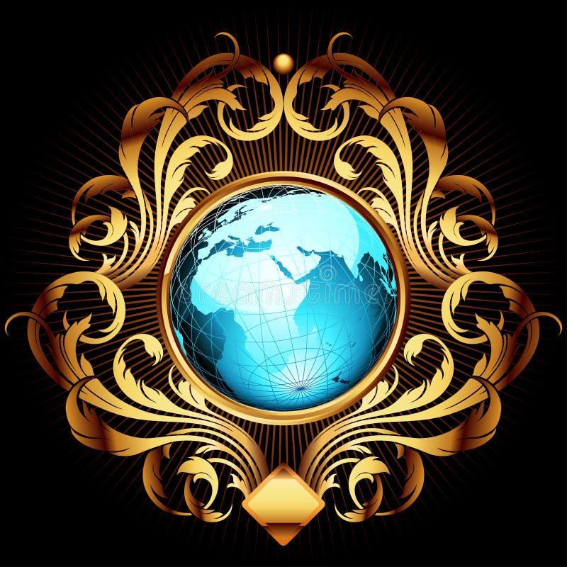 Mundo con el marco adornado ilustración del vector