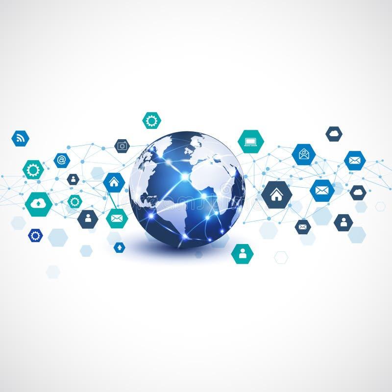 Mundo con el medios símbolo de la red para el fondo del blanco del aislante del concepto del negocio de la comunicación y de la t ilustración del vector