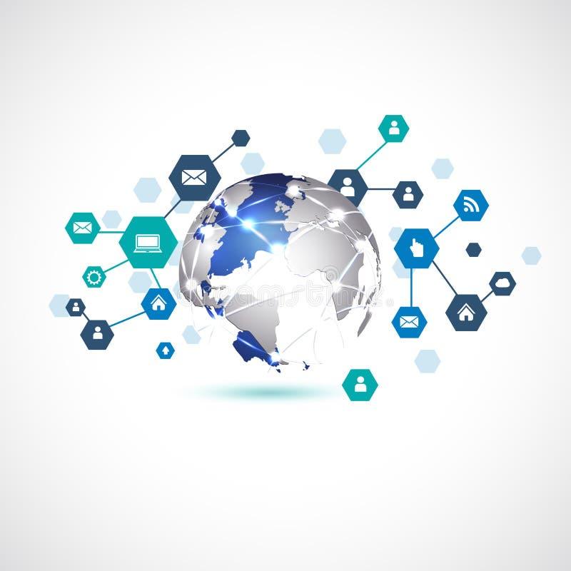 Mundo con el medios símbolo de la red para el fondo del blanco del aislante del concepto del negocio de la comunicación y de la t stock de ilustración