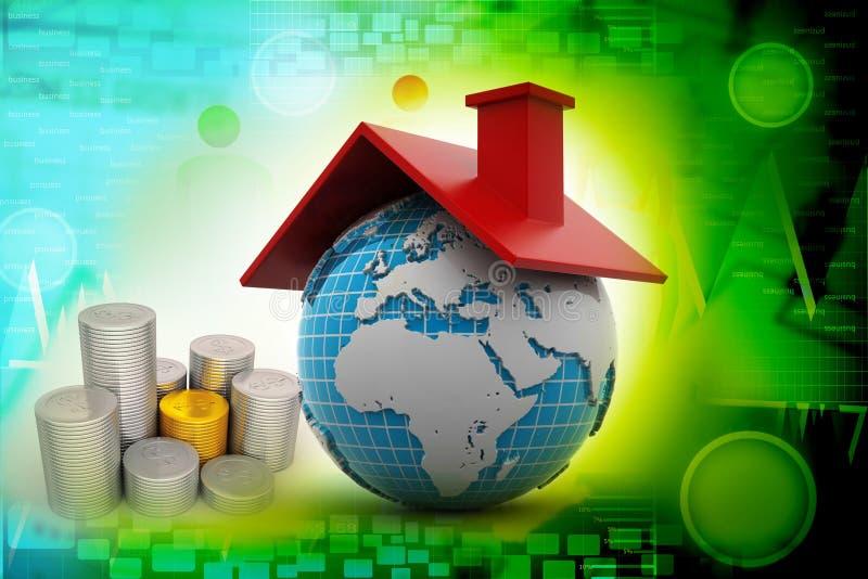 Mundo con el tejado ilustración del vector