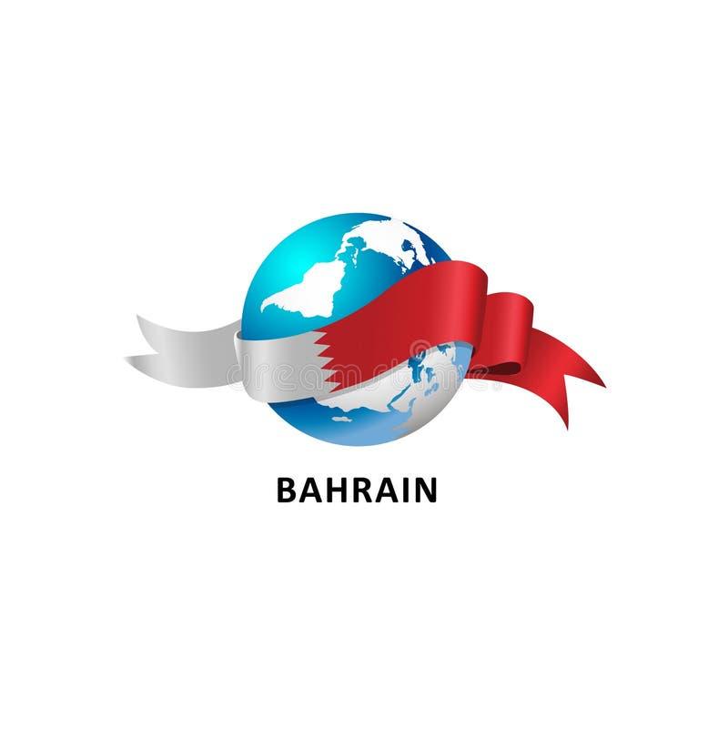 Mundo con la bandera de Bahrein stock de ilustración