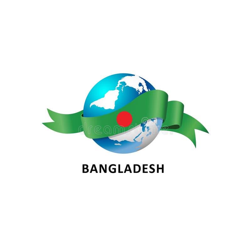 Mundo con la bandera de Bangladesh ilustración del vector
