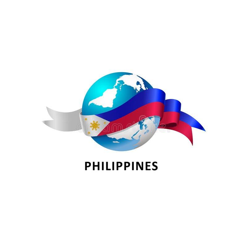 Mundo con la bandera de Filipinas stock de ilustración