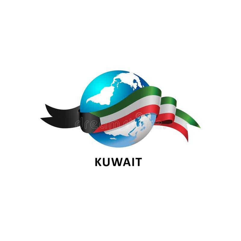 Mundo con la bandera de Kuwait ilustración del vector