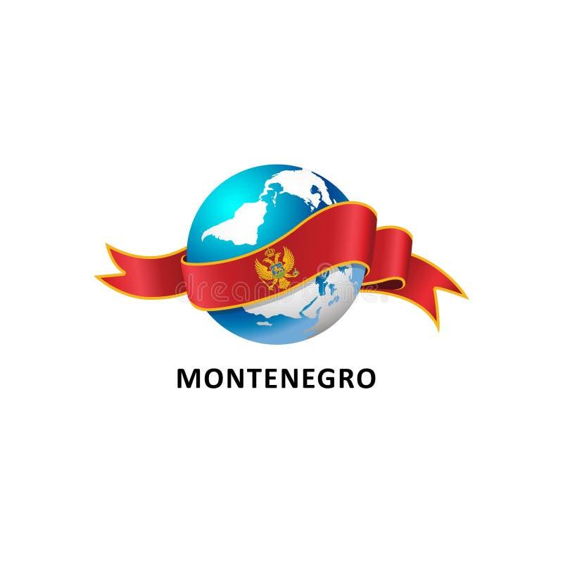 Mundo con la bandera de Montenegro libre illustration